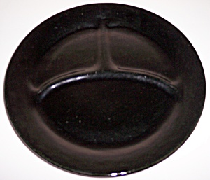 BAUER POTTERY PLAIN WARE VERY RARE BLACK GRILL PLATE! (Image1)