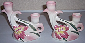 CAMARK POTTERY PAIR IRIS DECORATED CANDLESTICK HOLDERS! (Image1)