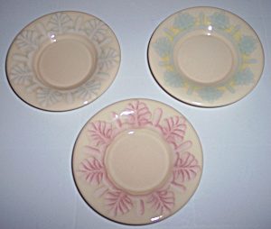 FRANCISCAN POTTERY PICNIC FAMILY 3 EXPERIMENTAL SAUCERS (Image1)