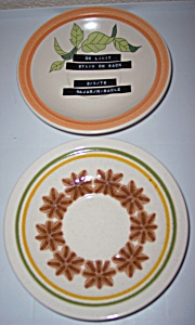 Franciscan Pottery Pair Floral Experimental Saucers