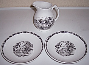 Franciscan Pottery Rustic England Creamer W/pr Saucers