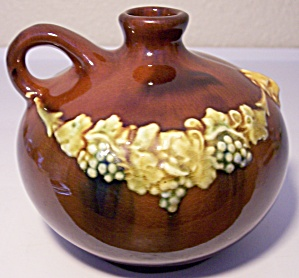 Peters And Reed Pottery Standard Glaze Grape/lion Jug