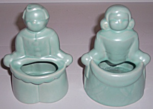 Pacific Pottery Satin Green Jack & Jill Planter Set