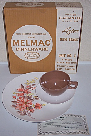 MELMAC DINNERWARE SPRING BOUQUET 3-PIECE SET W/BOX! (Image1)