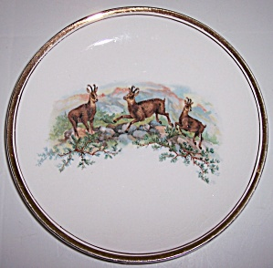 K.T.K. CHINA PRONGHORN W/GOLD DECORATED PLATE! (Image1)