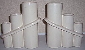 CAMARK POTTERY EARLY PAIR ART DECO IVORY VASES! (Image1)