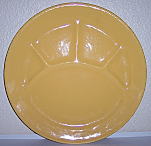 """BAUER POTTERY PLAIN WARE YELLOW 12.5"""" GRILL PLATE! (Image1)"""
