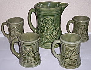 McCOY POTTERY EARLY GREEN ALPS BEER TANKARD/MUG SET! (Image1)