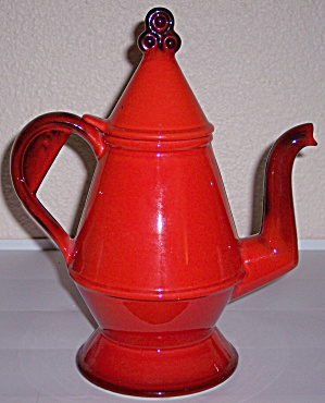 Metlox Pottery Poppy Trail Red Rooster Coffee Pot W/lid