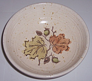 METLOX POPPY TRAIL POTTERY WOODLAND GOLD FRUIT BOWL! (Image1)
