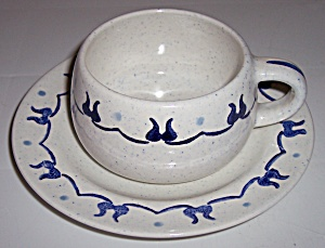 Metlox Pottery Poppy Trail Provincial Blue Cup/saucer