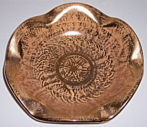 STANGL ART POTTERY GRANADA GOLD ART BOWL W/STICKER! (Image1)