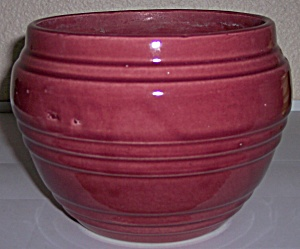 "PACIFIC POTTERY BANDED MAROON 6"" JARDINIERE! (Image1)"