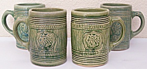 McCOY POTTERY EARLY GRAPE SHIELD GREEN BEER MUG! (Image1)