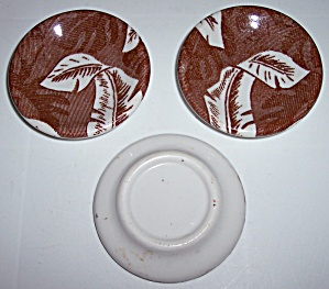 SHENANGO CHINA BROWN PALM BUTTER PAT! (Image1)