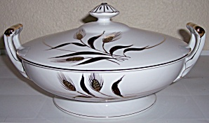 KUTANI CHINA GOLD WHEAT DECORATED HANDLED CASSEROLE! (Image1)