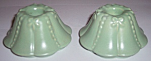 ABINGDON POTTERY PAIR GREEN CANDLESTICK HOLDERS! (Image1)