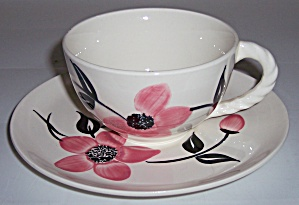 Blue Ridge Pottery Pink Floral Pattern Cup/saucer Set