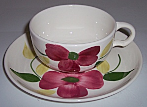 Stetson China Company Red Floral Cup/saucer Set