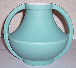 COORS POTTERY GOLDEN LARGE GREEN/WHITE VASE! (Image1)