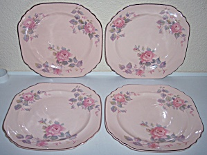 ROYAL CHINA ROSE MARIE SET/4 LUNCH PLATES! (Image1)