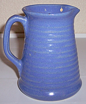 Zanesville Stoneware Pottery #d-26 Gloss Blue Pitcher