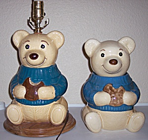 Metlox Pottery Poppy Trail Rare Teddy Bear Cookie Lamp