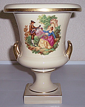 Trenton Art Potteries Scenic Decorated 2-handle Vase