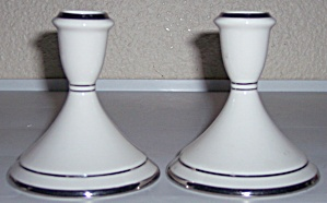 Pickard China Platinum Accent Large Candlestick Set! (Image1)