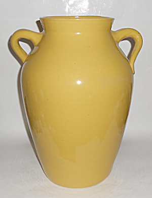 ZANESVILLE STONEWARE POTTERY YEL TWIST HANDLE OIL JAR! (Image1)