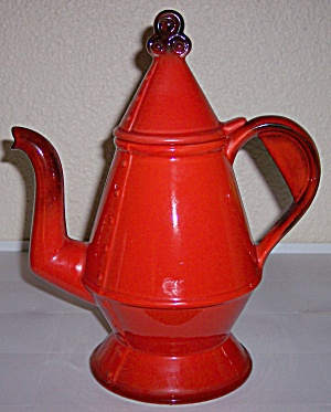 METLOX POTTERY POPPY TRAIL RED ROOSTER COFFEE POT & LID (Image1)