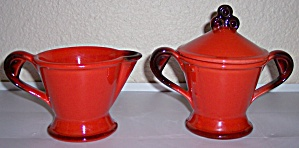 Metlox Poppy Trail Pottery Red Rooster Creamer/sugar