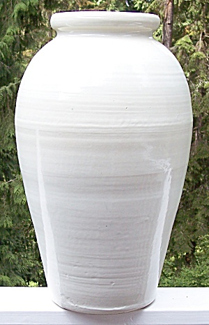 "Zanesville Stoneware Pottery 24"" White Oil Jar"
