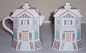LENOX CHINA LENOX VILLAGE CREAMER/SUGAR SET W/LIDS! (Image1)