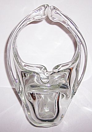 Murano Glass Clear Large Looping Handle Ashtray