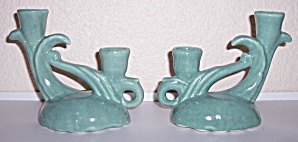 CAMARK POTTERY PAIR GLOSS GREEN 269 CANDLESTICK HOLDERS (Image1)