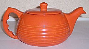 BAUER POTTERY MONTEREY ORANGE RESTYLED TEAPOT W/LID! (Image1)