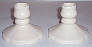 CAMARK POTTERY EARLY MATTE IVORY PAIR CANDLESTICKS! (Image1)