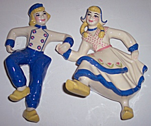 Ceramic Arts Studio Dancing Dutch Boy/girl Wall Plaques