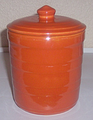 Garden City Pottery Orange Banded Small Canister W/lid! (Image1)