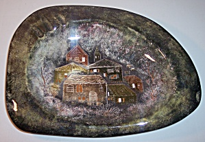 SASCHA BRASTOFF POTTERY LARGE VILLAGE DECORATED ASHTRAY (Image1)
