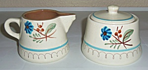 Stangl Pottery Blue Daisy Creamer & Sugar Bowl W/lid