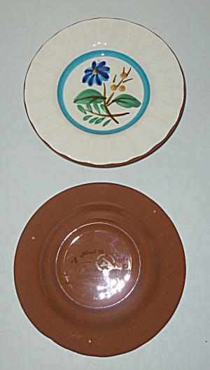 Stangl Pottery Blue Daisy Pair Ashtrays