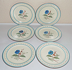 Stangl Pottery Blue Daisy Set/6 Bread Plates