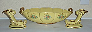 ABINGDON POTTERY YELLOW FLORAL GOLD ART BOWL W/STICKS! (Image1)