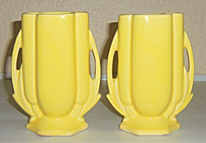 McCoy Pottery Pair Yellow 2 Handle Vases! (Image1)
