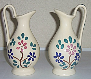 Purinton Pottery Red Flower Pr Handled Jugs! (Image1)