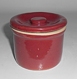Zanesville Stoneware Pottery Red Cheese Jar Mint