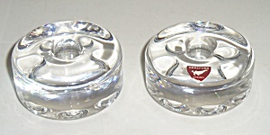 Orrefors Crystal Glass Candlestick Holders W/sticker