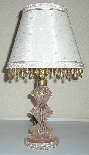 Murano Glass Gold Dust Boudoir Lamp W/Matching Shade! (Image1)